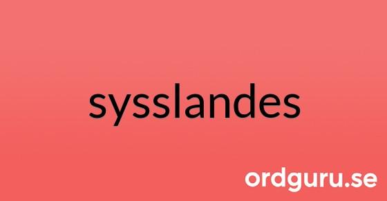 sysslandes på ordguru.se